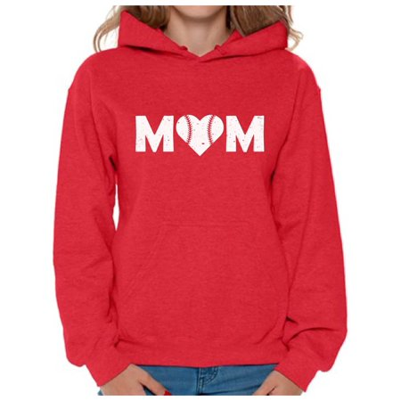 Awkward Styles Women's Baseball Mom Heart Graphic Hoodie Tops White Heart Mother's Day Gift Heart Hoodie Shirt Top