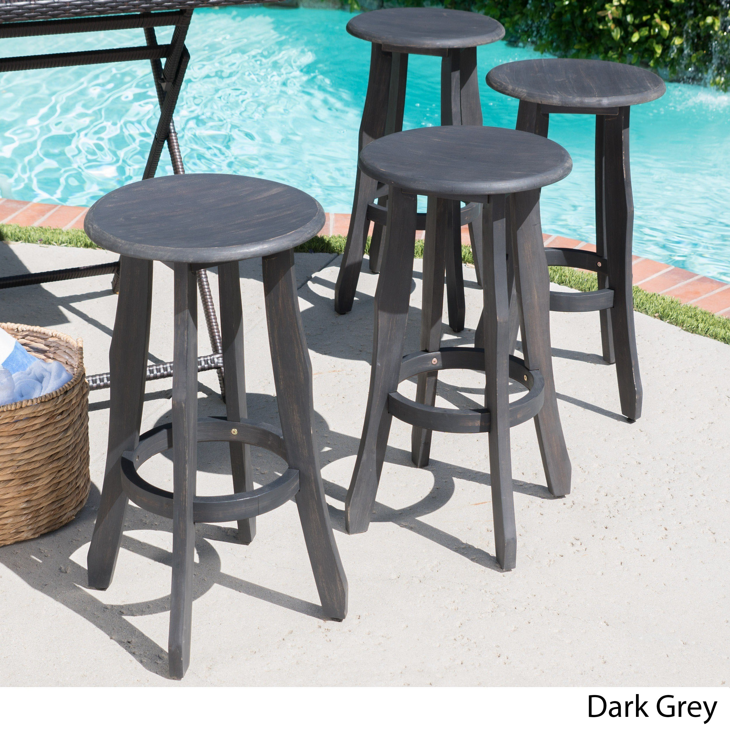 Christopher Knight Home Pike Outdoor Acacia Wood Barstool (Set of 4) by  Dark Grey