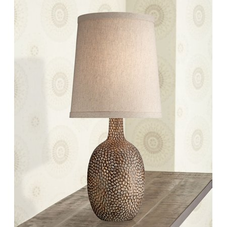 360 Lighting Rustic Accent Table Lamp Antique Bronze Hammered Texture Natural Beige Linen Shade for Living Room Family (Bronze Vented Natural)