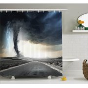 Lake House Decor Shower Curtain Set, Black Tornado Funnel Gas And Lightning Rolling On The Road Fume Disaster Monochrome Print, Bathroom Accessories, 69W X 70L Inches, By Ambesonne