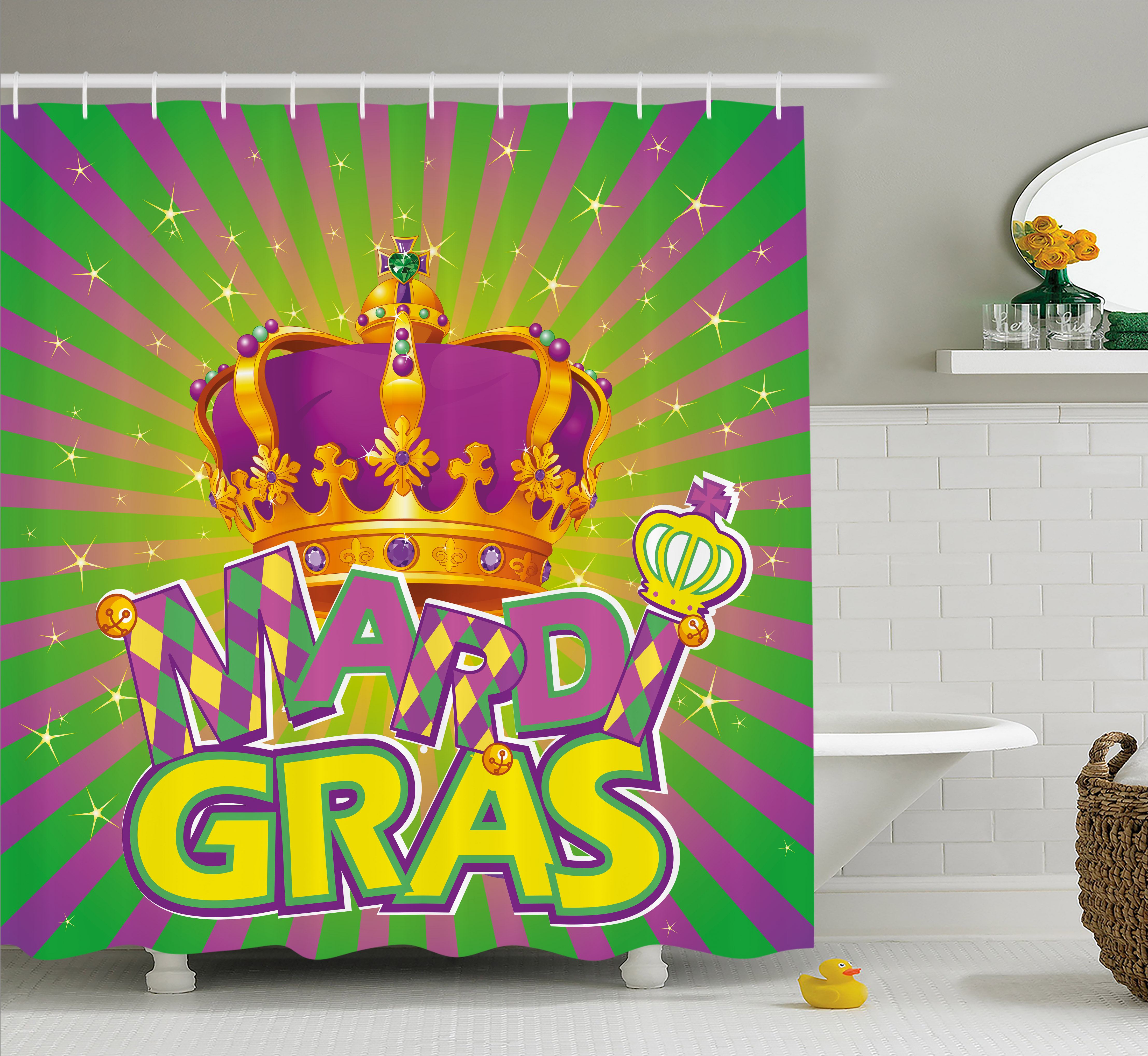 Mardi Gras Shower Curtain Antique Crown On Vintage Radial Backdrop Lettering With Checkered Pattern Fabric Bathroom Set With Hooks 69w X 70l
