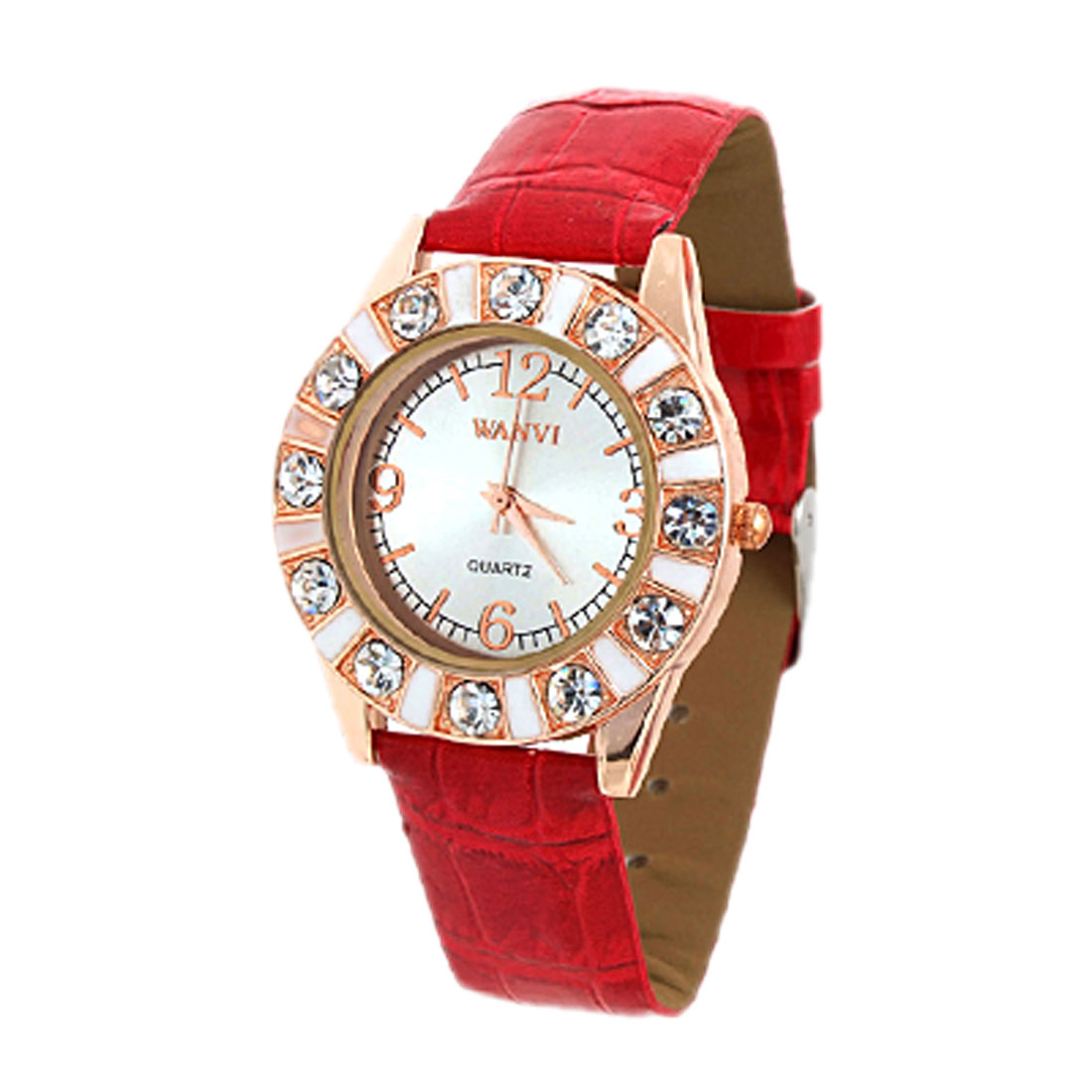 Red Faux Leather Strap Simulated Crystal Time Watch
