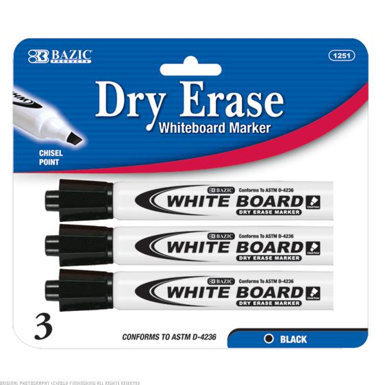 BAZIC Black Chisel Tip Dry Erase Markers 144 Packs of 3