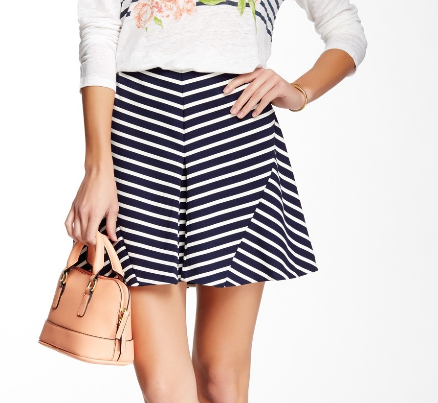 Joie NEW Blue White Striped Women's Size Medium M A-Line KNit Skirt