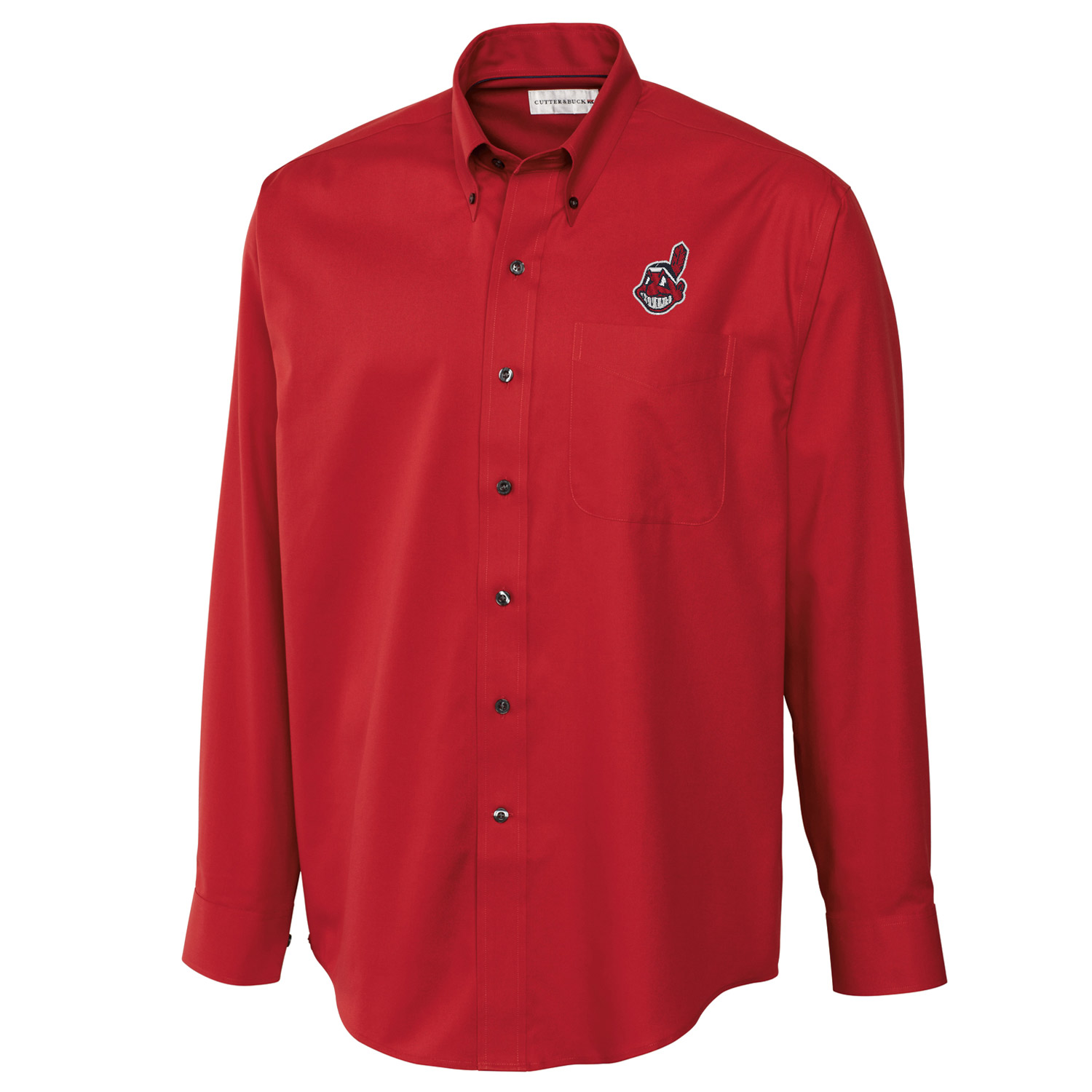 Cleveland Indians Cutter & Buck Big & Tall Epic Easy Care Fine Twill Long Sleeve Shirt - Red