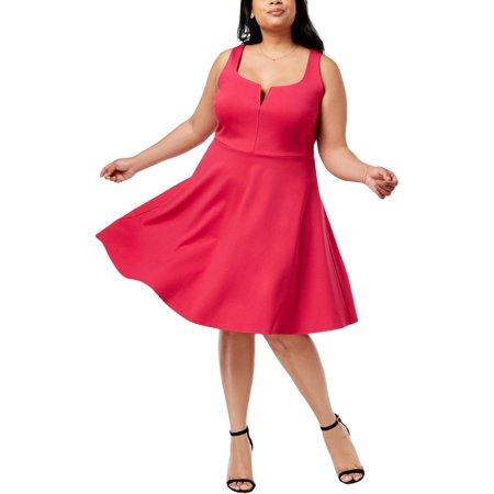 Soprano Womens Plus Ruffled Sleeveless Cocktail Dress - Hibiscus Cocktail