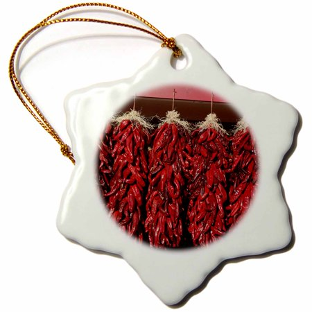 3dRose Chili peppers drying in the sun, Velarde, New Mexico, USA. - Snowflake Ornament, 3-inch (Pepper Ornament)