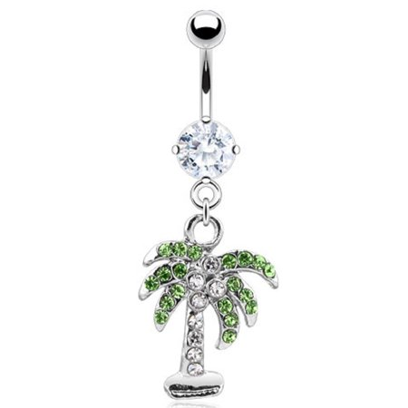 Belly Button Ring  CZ Pave Gem Palm Tree 14GA 316L Surgical Steel Navel Bottom Gem Belly Navel Rings