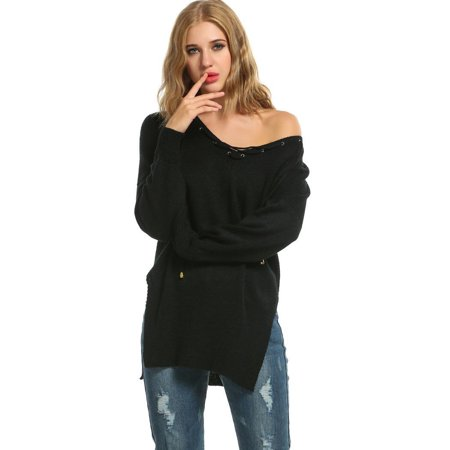 Women Lace Up V-Neck Long Sleeve Slit Side Solid Loose Pullover Sweater HITC - Lace Trim Sweater