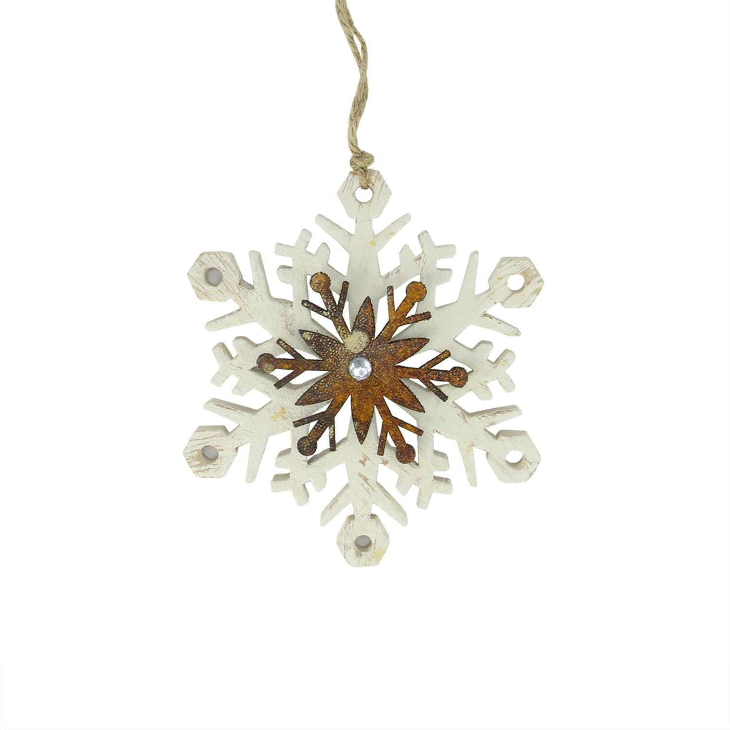 """6.75"""" White and Brown Country Rustic Snowflake Christmas Ornament"""