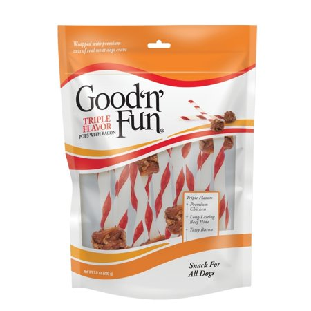 Good Camp Dog (Good 'n' Fun Triple Flavor Pops With Bacon, Long-Lasting Dog Chews, 18 Chews )
