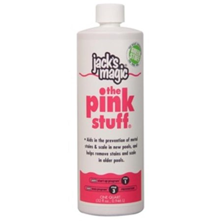 Jacks Magic JMPINK032 The Pink Stuff ,32 oz Jack's Magic Products, identify, prevent and remove stains and discoloration by treating stain issues with the pool and spa water. We have built a reputation for innovative quality products and programs that deliver results. All of our solutions are designed with your workday in mind, with performance and savings that are always at work for you. We believe the quality of a product goes hand in hand with innovation. is a professional strength, general purpose sequestering agent. The Pink Stuff helps prevent metal and mineral stains and scale in new pools and aids in removing stains and scale in older pools. FeaturesThe Pink Stuff - SKU: JKMGC008
