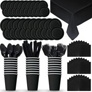 """""""Party Supply Pack for 24 - Black - 2 Size plates, Cups, Napkins , Cutlery (Spoons, Forks, Knives), and tablecovers. (Black)"""""""