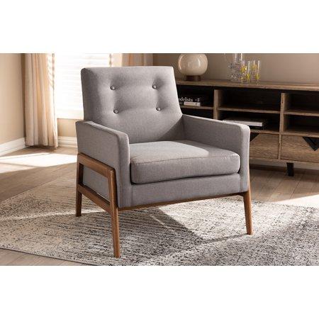 Outstanding Baxton Studio Perris Mid Century Modern Grey Fabric Upholstered Walnut Wood Lounge Chair Inzonedesignstudio Interior Chair Design Inzonedesignstudiocom