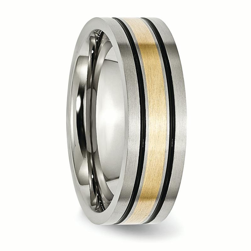 Titanium 14k Yellow Inlay Flat 7mm Brushed Wedding Ring Band Size 10.50 Precious Metal Fine Jewelry Gifts For Women For Her - image 4 of 6