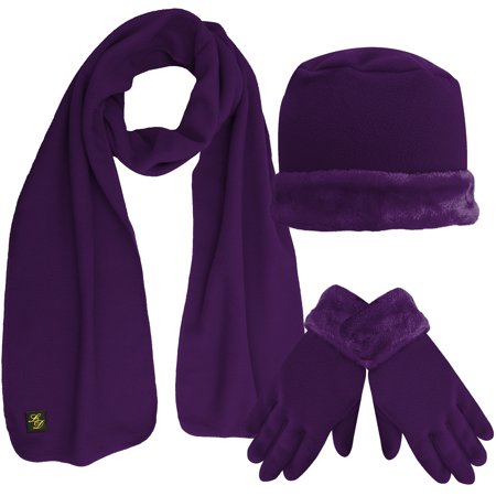 Fleece Hat Scarf   Glove Set With Plush Fur Trim