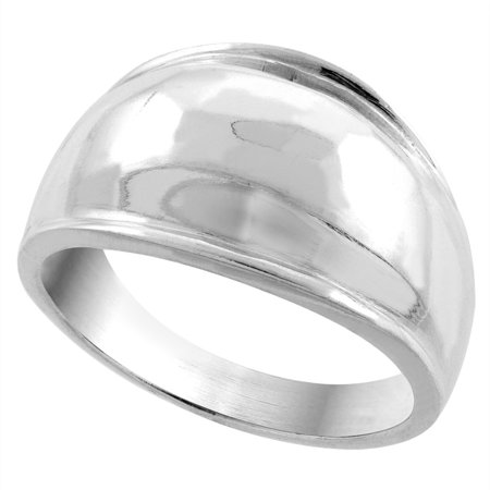 - Sterling Silver Dome Cigar Band Ring 5/16 inch wide, sizes 5 - 13