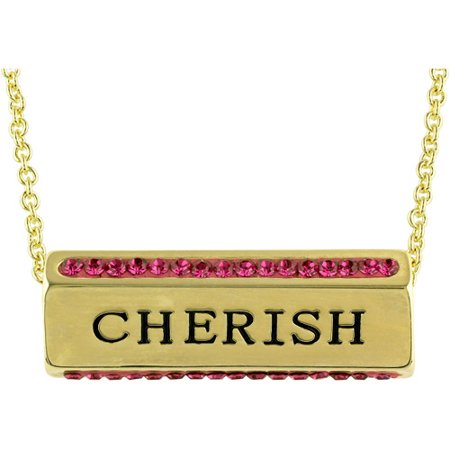 Truly Inspired Gold Plated Love Friendship Cherish Crystal Sentiment 18 Necklace With Gift Box