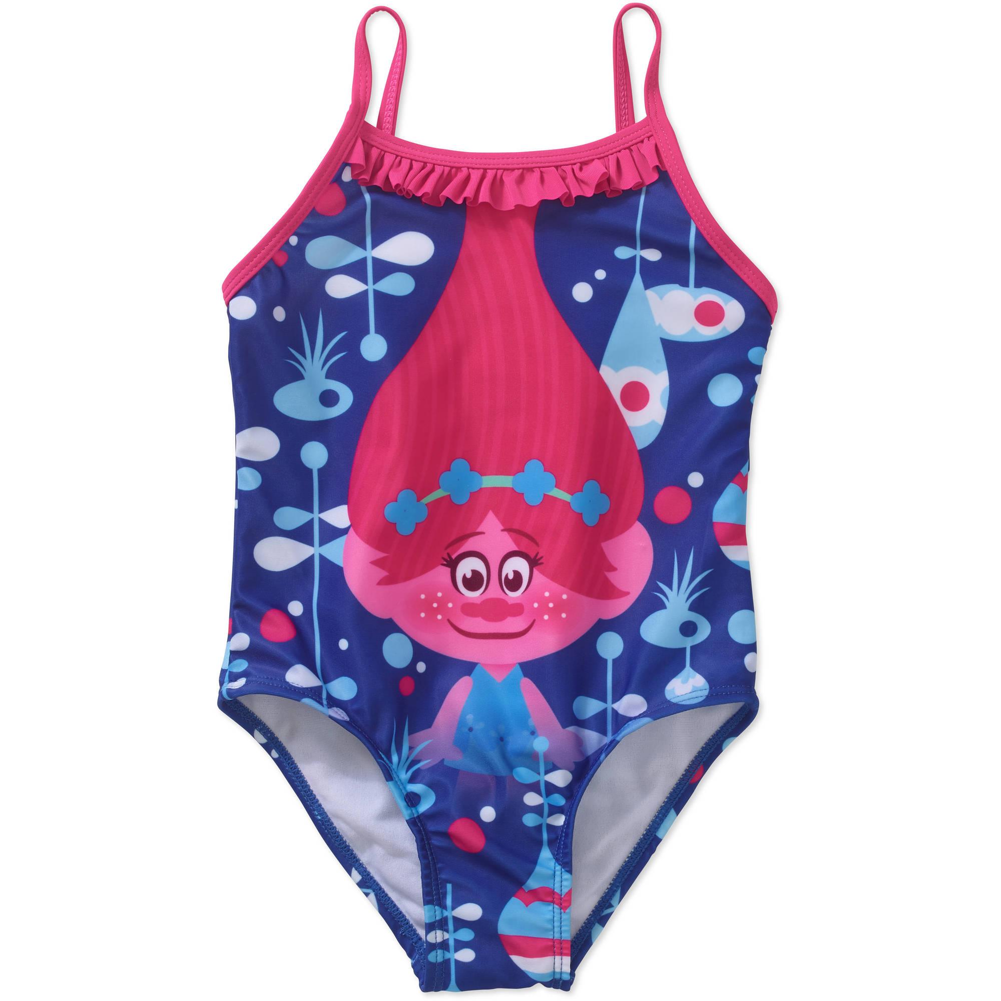 860321169fc5a Trolls - Toddler Girl Ruffle Detail 1pc Swimsuit - Walmart.com