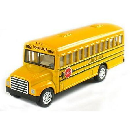 "5"" Kinsfun School Bus Diecast Model Toy Pull Back Action w/ Openable Doors"