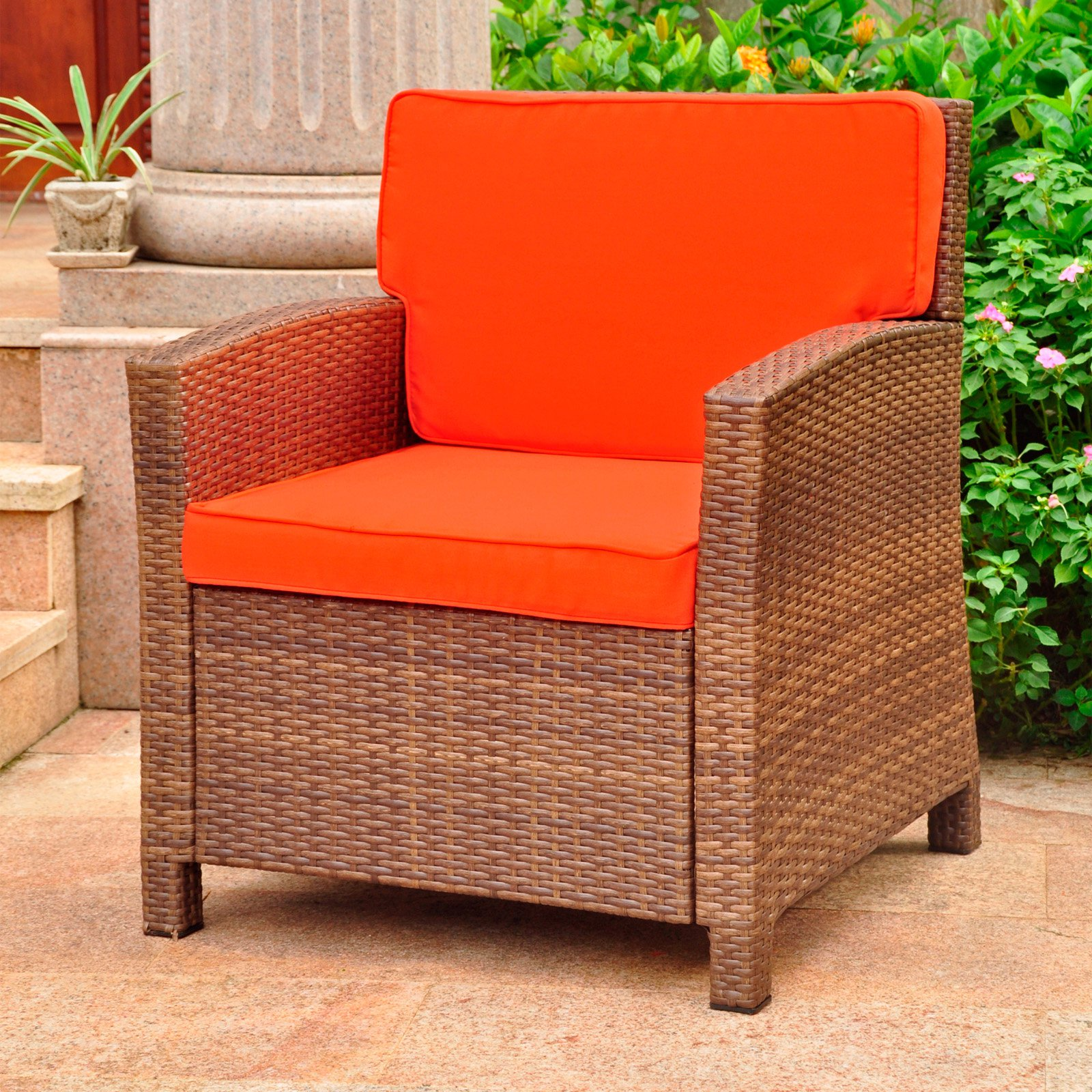International Caravan Valencia Resin Wicker/ Steel Contemporary Deep Seat Armchair with Cushions