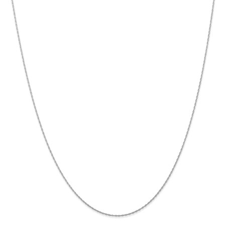 White Gold Cable Link Chain (10k White Gold .5 Mm Cable Link Rope Chain Necklace 24 Inch Pendant Charm Carded Gifts For Women For Her)