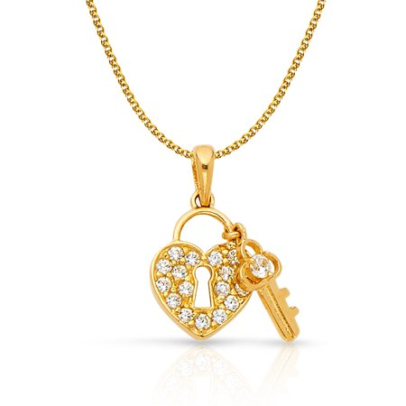 14K Yellow Gold Heart Lock & Key Cubic Zirconia Studded CZ Charm Pendant with 1.2mm Flat Open Wheat Chain Necklace