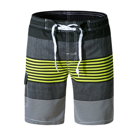 6db413780b Hemiks - Men 's Swim Trunks Water Beach Board Shorts Striped Sportwear with Mesh  Lining - Walmart.com