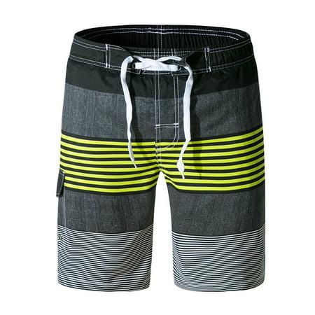 6db413780b Hemiks - Men 's Swim Trunks Water Beach Board Shorts Striped Sportwear with Mesh  Lining - Walmart.com