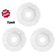 3 Replacement Mop Micro Head Refill Hurricane For 360 Degree Spin Magic Mop-Anti-Bbrasive Microfibers No Scratch-Round Shape Standard Size