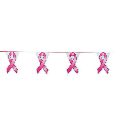 Pink Ribbon Pennant Banner Breast Cancer - Oriental Trading Banners