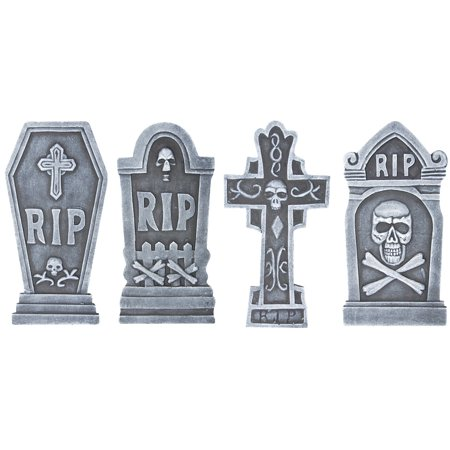 4 Piece Tombstone Set Halloween Decoration](Tombstone Epitaphs For Halloween)
