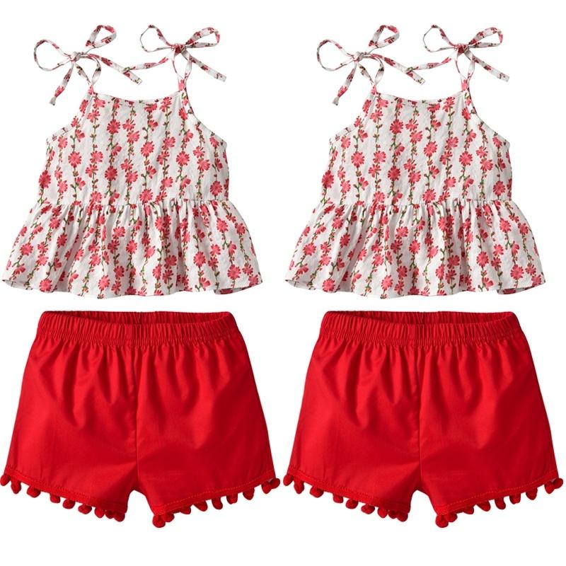 2pcs Newborn Toddler Baby Girl Summer Clothes Tank Tops+Shorts Pants Outfits Set
