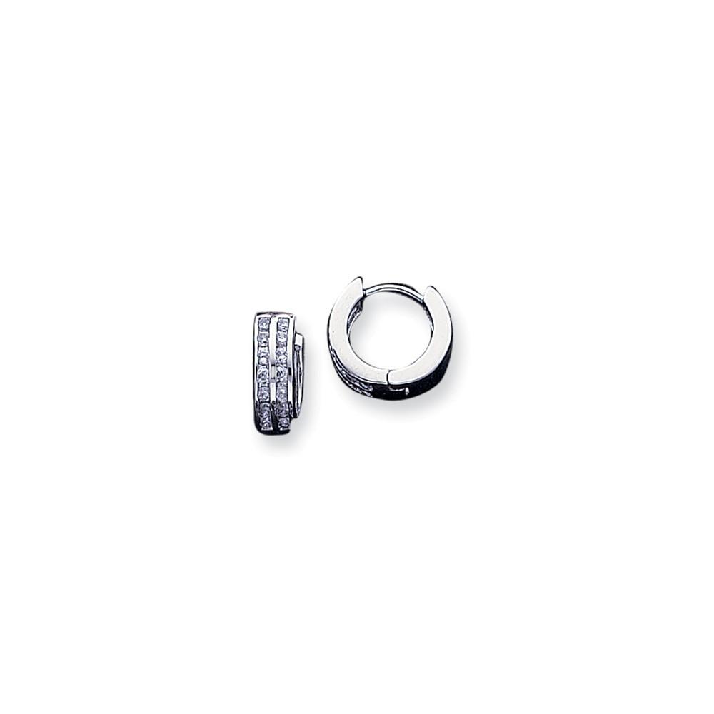 Sterling Silver 0.5IN Long CZ Polished Hoop Earrings