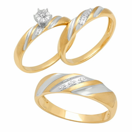 10K Gold Diamond Accent Trio Engagement Ring Bridal Set Womens and Mens Engagement Ring and Band (Diamond Accent Bridal Set)