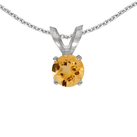 "10k White Gold Round Citrine Pendant with 16"" Chain"