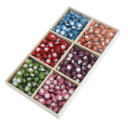 Self Adhesive Lady Bug Wooden Favors, 6 Colors, 360-Count