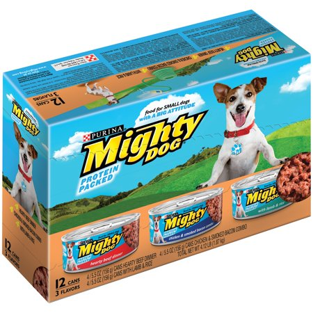 Purina Mighty Dog Dîner copieux de boeuf / poulet et bacon fumé Combo / agneau et riz Dog Food Variety Pack 12 à 5,5 onces. Cans
