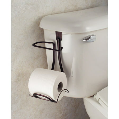 InterDesign Axis Toilet Paper Holder for Bathroom Storage, Over the Tank, Bronze