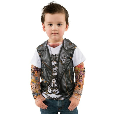 Tattoo Tee W/Mesh Tattoo Sleeves Costume for Toddler - Creative Halloween Customs