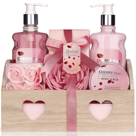 Best Mothers Day Relaxing Bath Spa Kit For Women, Gift Set Bath And Body Works - Cherry Rose Aromatherapy Spa Gift Basket Includes Shower Gel, Body Lotion, Bath Salt, Body Scrub Eva Sponge, and