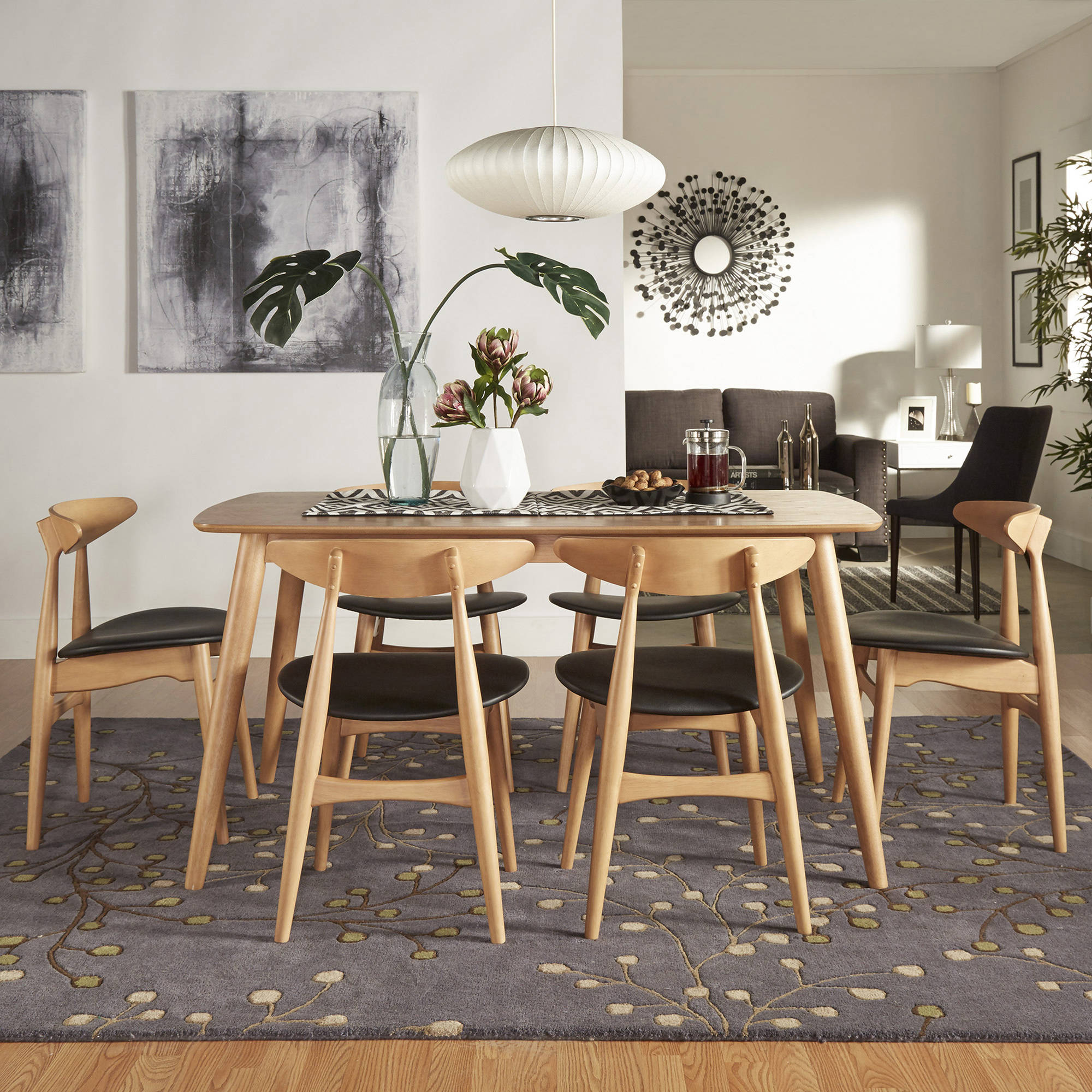 """Chelsea Lane Mid-Century Modern 7-piece Dining Set, 66"""" Dining Table, Ash Finish, Black Faux Leather Seat"""
