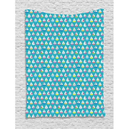 Sailboat Tapestry, Chaplet Striped on Polka Dotted and Floral Design Cutters with Semi-Circular Hull, Wall Hanging for Bedroom Living Room Dorm Decor, 40W X 60L Inches, Multicolor, by Ambesonne