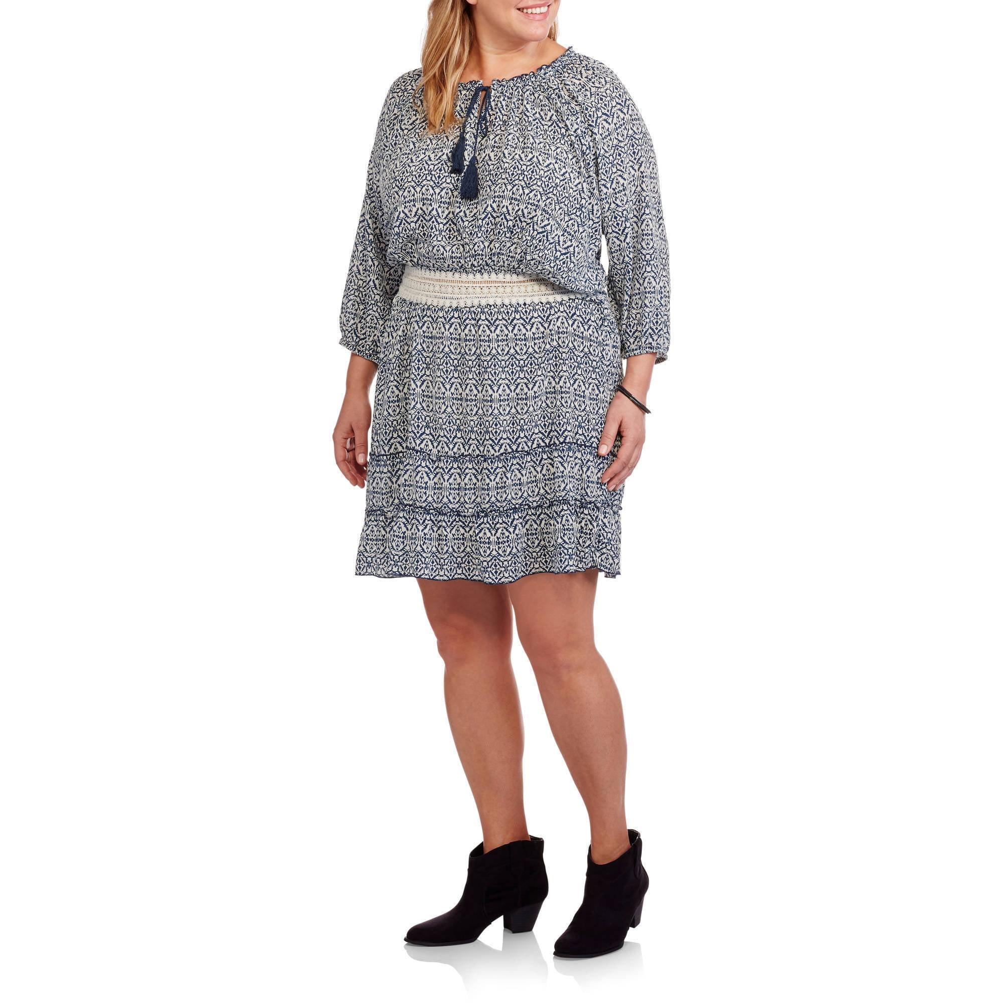 Derek Heart Women's Plus Peasant Dress with Tassel