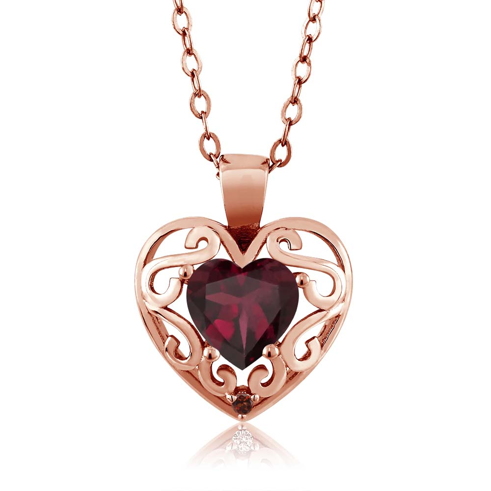 0.73 Ct Heart Shape Red Rhodolite Garnet Red Garnet Gold Plated Silver Pendant