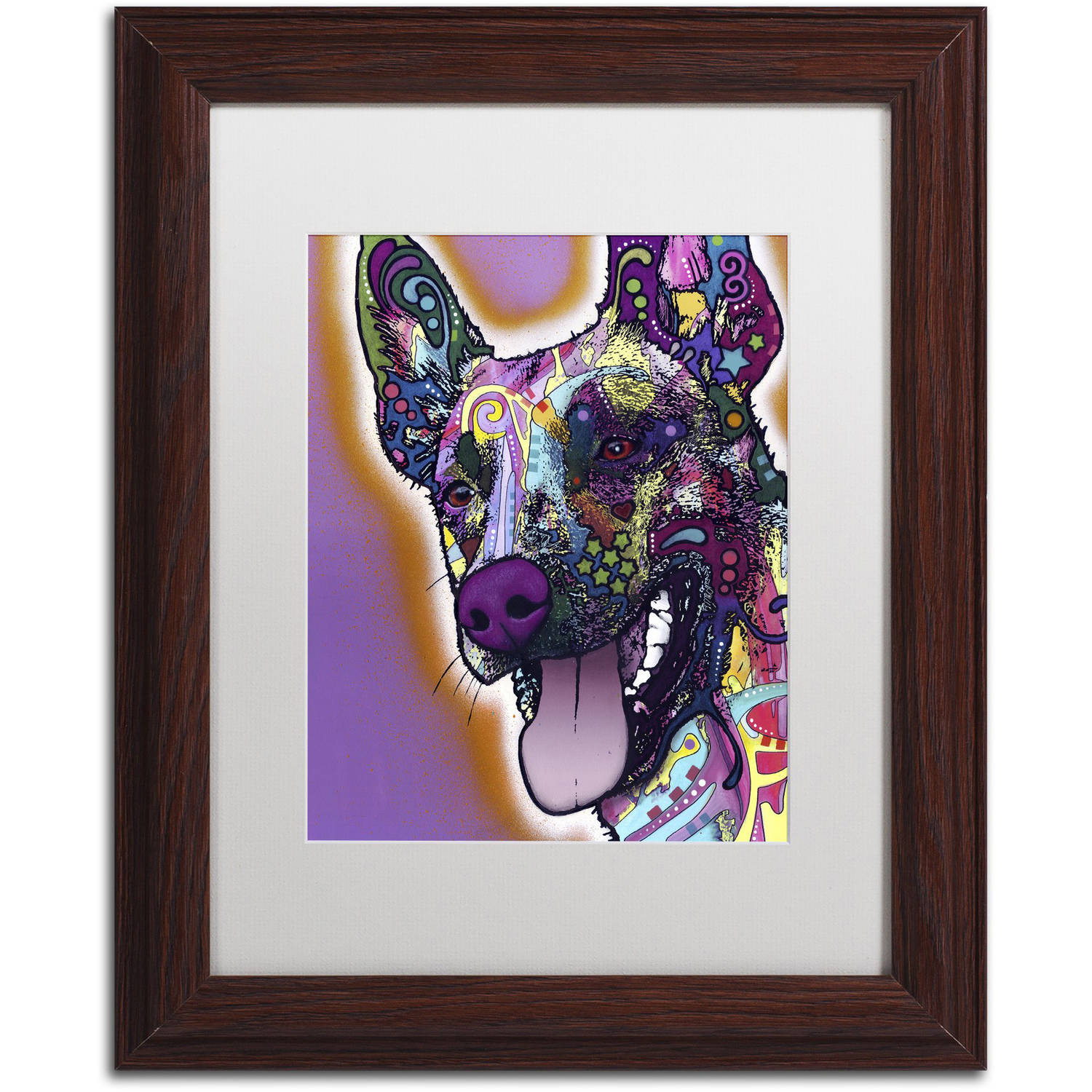 "Trademark Fine Art ""Malinois"" Canvas Art by Dean Russo, White Matte, Wood Frame"