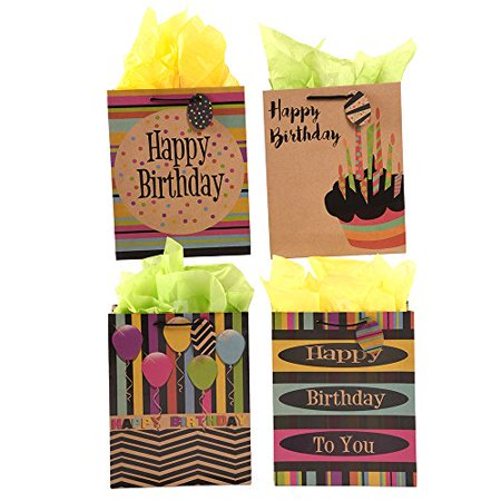FLOMO Large Whos Counting Black UV Varnish Shiny Kraft Birthday Gift Bags
