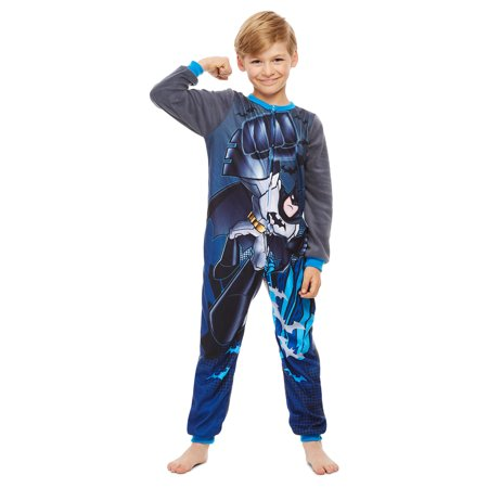 DC Super Friends Batman Boys Blanket Sleeper | Zippered Onesie Pajama - 3 - image 3 of 7