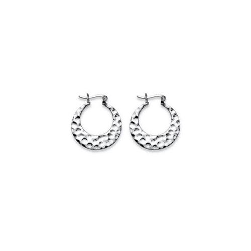 PalmBeach Jewelry 53825 Hammered Flat Hoop Earrings in Sterling Silver