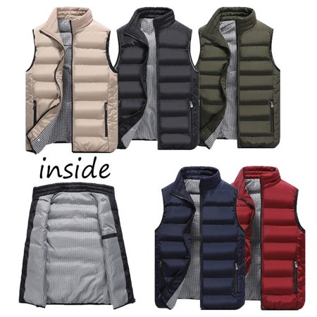 Mens Winter Sleeveless Cotton Jacket Slim Hooded Vest Coat Zip Waistcoat